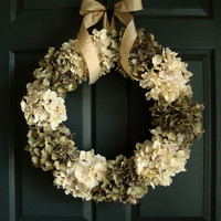 Antiqued Look Green & Off White Hydrangea Wreath - Summer / Fall Wreath Ideas - Wedding Wreath - Complementary UV Resistant Coating Upgrade