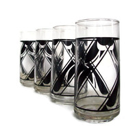Vintage Tumblers, Drinking Glasses, Black Geometric Design, Mod Decor, Set of 4