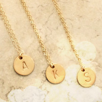 Initial Necklace, Gold Filled Disc Hand Stamped Initial