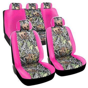 CarsCover Real Pink Camo Seat Covers Maple Forest Tree leaf Pattern Camouflage for Auto Truck Car SUV Women Style Seat Cover (9pc Low Back)