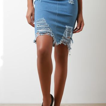 Denim Midi Skirt Light Blue Wash