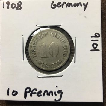 1908 German Empire 10 Pfennig Coin 9101