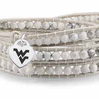 Buy West Virginia Mountaineers White Wrap Bracelet With Fast, Free Shipping!