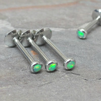 Light Peridot Green Opal Stud Cartilage Earring Tragus Helix Piercing