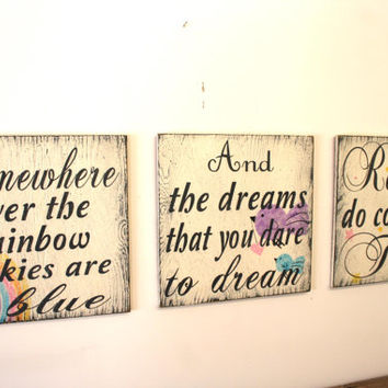Somewhere Over The Rainbow Wood Wallhanging Nursery Wallhanging Distressed Wood Sign Shabby Chic Nursery Vintage Wood Baby Gift