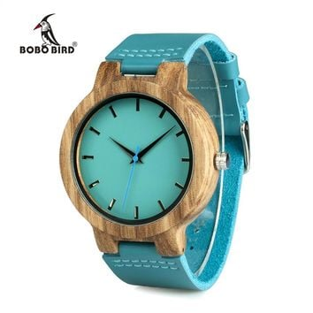BOBO BIRD WC28 Blue Leather Band Antique Lovers Wood Watch