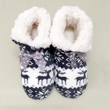 Winter Warm House Indoor Shoes Lovely Reindeer Pattern Plush Indoor Cotton Shoes Bota