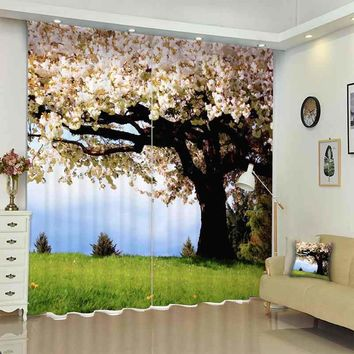 1Set 100% Blackout Curtains Tree Pink Flower Picture 3D Print Window Curtains Drapes For Living Bed Room Hotel Wall Tapestry