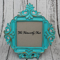 Ornate frame // ornate picture frame// Unique frame // 4x6 Frame // Resin Frame // turquoise frame // turquoise decor // bedroom decor