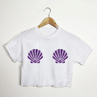 Mermaid Purple Glitter Shell White Baggy Oversized Unisex Crop Top T Shirt Tee Goth Grunge Punk Emo Hipster