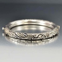 Antique Dragon and Phoenix Chinese Silver Bracelet