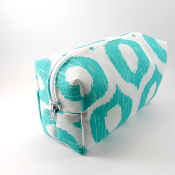White and Aqua Circle Ikat Makeup Bag, Gadget Case, Under 15, Pencil Case, Medium, Zippered, Cosmetic Case, For Her