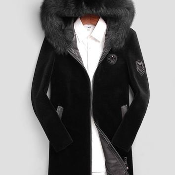 High Quality Winter Men Wool Fur coat Real Fox fur collar hooded coats men jacket real wool fur coloured  parka