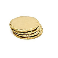 Renee Redesigns Round Hand Painted Gold Slate Drink Coasters, Gift Set of 4 | Protects Table Surfaces | For Hot & Cold Beverages and Candles