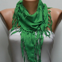 Pigment Green Scarf Pashmina Scarf Headband by fatwoman