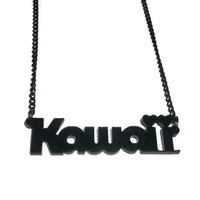 Laser Cut Kawaii Necklace, Black Acrylic Cute Jewelry