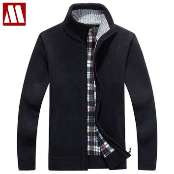 Men Fleece Sweater Casual Style Stand Collar Cotton Material Thin Wool Warm Thick Sweatercoat Winter Cardigan Size S-3XL