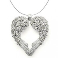Silver Plated Angel Heart Guardian Angel Wing Pendant Necklace:Amazon:Jewelry