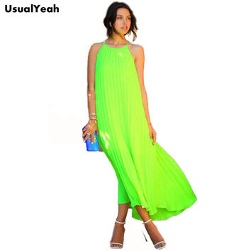 UsualYeah 2017 Summer Women Neon Green Dress Fashion Spaghetti Strap Pleated Maxi Dresses Beach Bohemian Long Dress Fluorescence