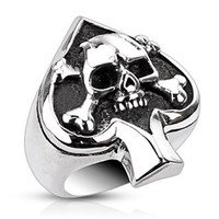 Ace of Spades – FINAL SALE Ace of spades skull and crossbones black oxidized stainless steel men's ring