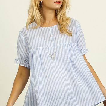Blue Striped Baby Doll Blouse