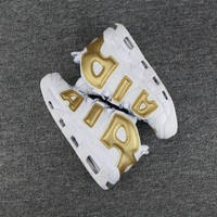 Best Deal Online Nike Air More Uptempo White Gold Men Sneakers Women Sports Shoes