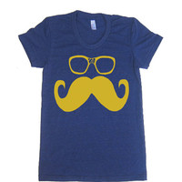 Women's Mustache and Wayfarer Glasses T Shirt - American Apparel 50/50 Poly Cotton - S M L XL (20 Color Options)
