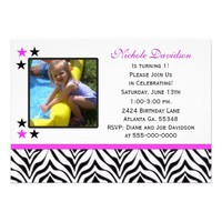 Zebra Print: 1st Birthday Party Invitations from Zazzle.com