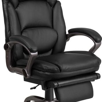 High Back Black Leather Executive Reclining Ergonomic Swivel Office Chair with Outer Lumbar Cushion and Arms [BT-90279H-GG]