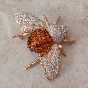 Rhinestone Bee Pin Brooch VogueBijoux Amber Crystal Made in Italy Vintage 071815AR