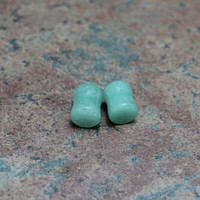 Natural Stone Green Jade gauges plugs 0g sold in by GirlyGauges