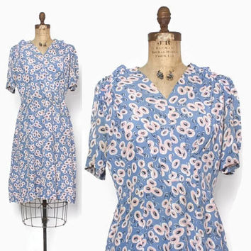 Vintage 30s Day DRESS / 1930s - 40s Abstract Floral Rayon Dress M - L