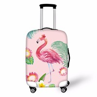 FORUDESIGNS 3D Flamingo Elastic Luggage Protective Covers for 18-30 Inch Suitcase Thick Dust Pink Cover Travel Bag Case Cover