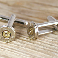 Bullet Cufflinks 9mm Nickel Bullet Cuff Links Winchester Pistol