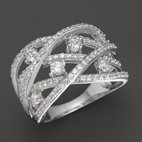 Diamond Crossover Band in 14K White Gold, 1.0 ct. t.w.