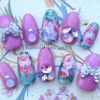 Vintage Rose Opal 3D False/Fake Full cover Nails with Swarovski crystal