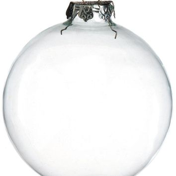 Free Shipping DIY Paintable Clear Christmas Ornament Decoration 100mm Glass Ball With Silver Top, 48/Pack