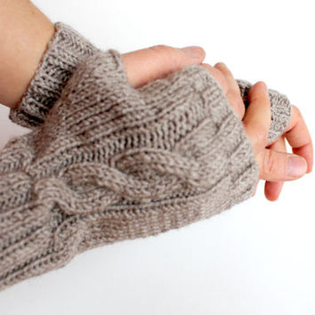 Hand Knitting Fingerless Gloves Mittens Arm Warmers Harvest Brown . Autumn trend. coffee Brown