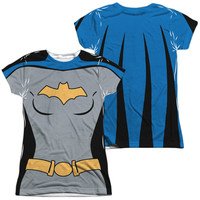 BATMAN THE ANIMATED SERIES/BATGIRL UNIFORM (FRONT/BACK PRINT)-S/S JUNIOR POLY CREW-WHITE