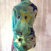 Colorful floral nuno felt silk scarf Bohemian clothing