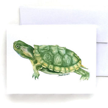 Turtle Watercolor Note Cards - Set of Six - Greeting Cards 5.5 x 4.25 - Watercolor Painting