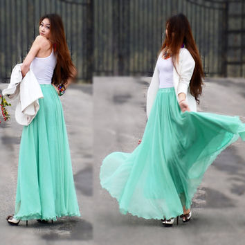 Women's flowing long skirt bohemian chiffon maxi skirt full skirt summer beach skirt in mint green BJ08,s,m,l
