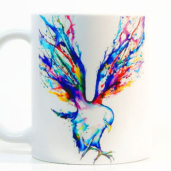 Bird coffee mug, Bird mug Watercolor Mug, Coffee Cup, Tea Cup, Gift for her, Gift for him, Printed mug, Ceramic mug