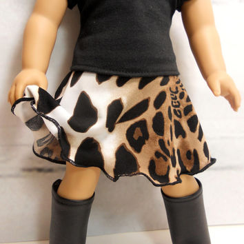 "18"" Doll Skirt, Swing Skirt Leopard Brown Black"