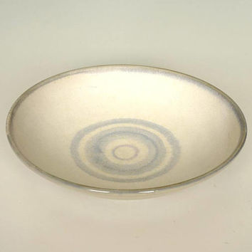 Pale blue porcelain bowl, curved dish, shallow bowl, dinner bowl, blue and white, handmade