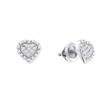 Sterling Silver Womens Round Diamond Small Heart Cluster Screwback Stud Earrings 1/20 Cttw