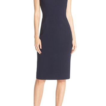 Eliza J Cap Sleeve Crepe Sheath Dress (Regular & Petite) | Nordstrom