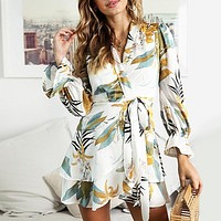 Long Sleeve Elegant Women Dress Winter Wrap Feminino Dresses Vestido Ruffles Bohemian Floral Party Dress