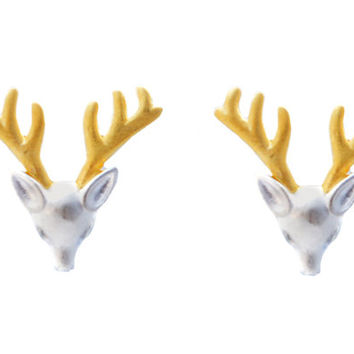 Sterling Silver Stag Head Antler Stud Earrings with Gold Plating