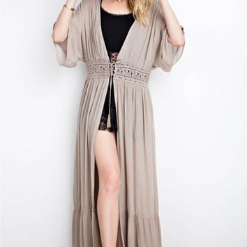 Maxi Open Cardigan with Waist Tie